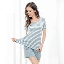 Cotton Material M-xl  Sleepwear Set Pajama Short Sleeve Shorts Women 1337
