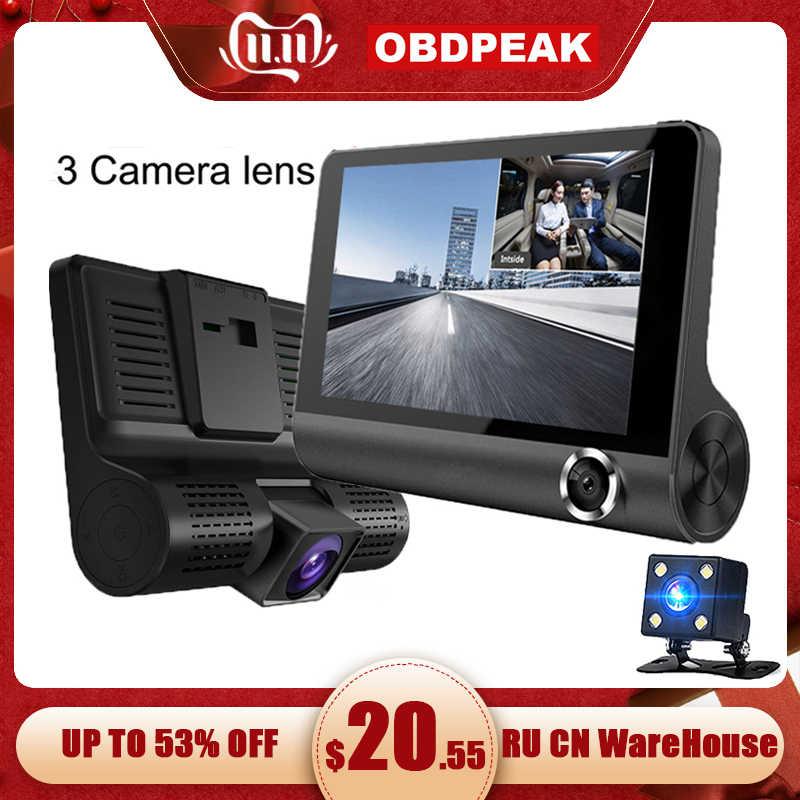 Traço cam 3 câmeras lente 4.0 Polegada dvr carro traço câmera 3 lente com vista traseira gravador de vídeo dashcam hd completo 1080 p língua russa