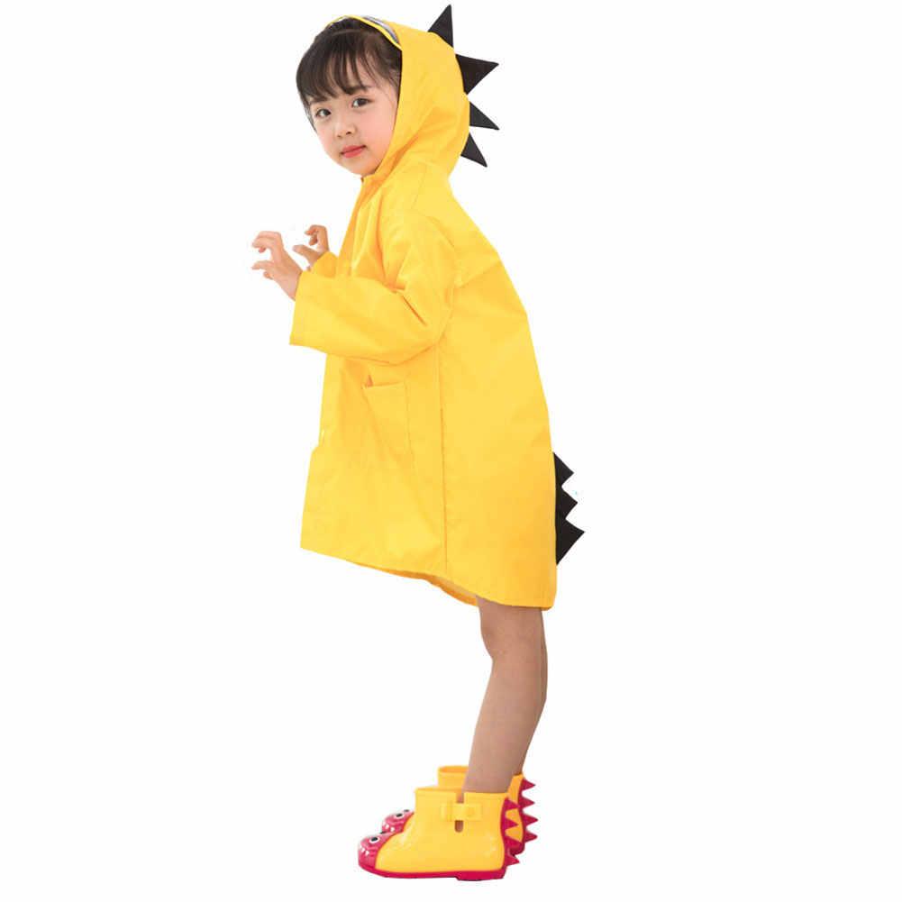 Baru Anak Anak Jas Hujan Tahan Air Hooded Kartun Dinosaurus Gaya untuk Anak Gadis