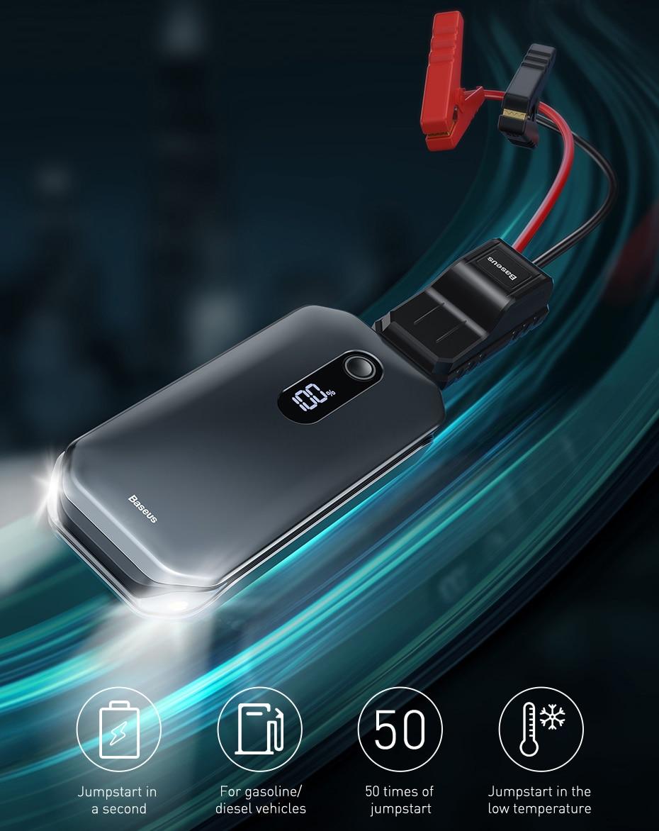 Baseus Car Jump Starter 12000mah 1000A Portable Emergency Starter Power Bank