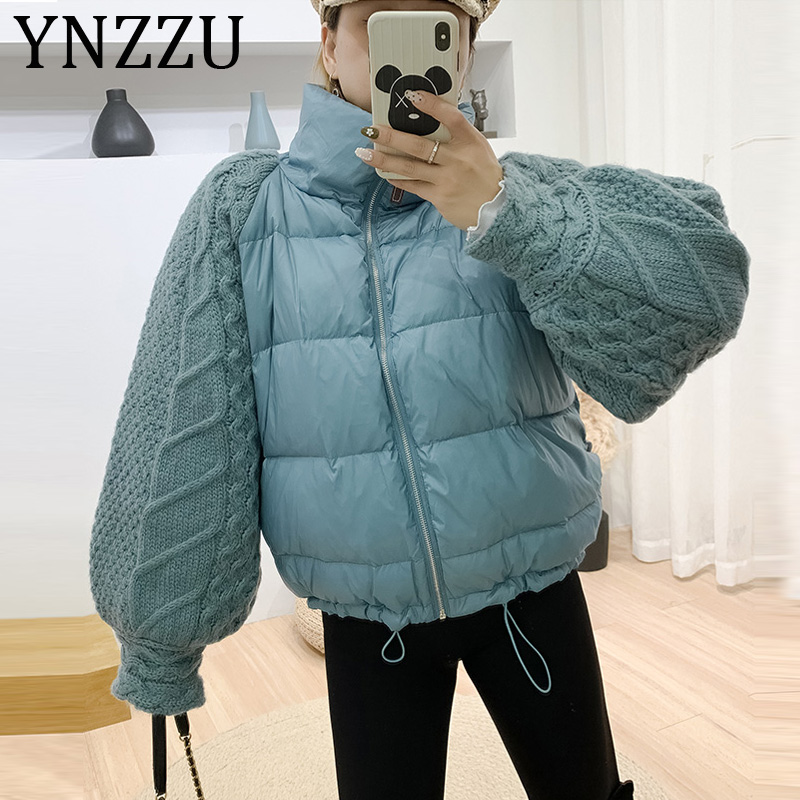 YNZZU 2019 New Winter Knitted Lantern Sleeve Women's Down Jacket Casual Stand Collar Windproof Warm Female Loose Jacket A1161