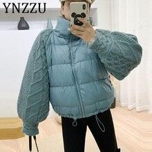 YNZZU 2019 New Winter Knitted Lantern Sleeve Women's Down Jacket