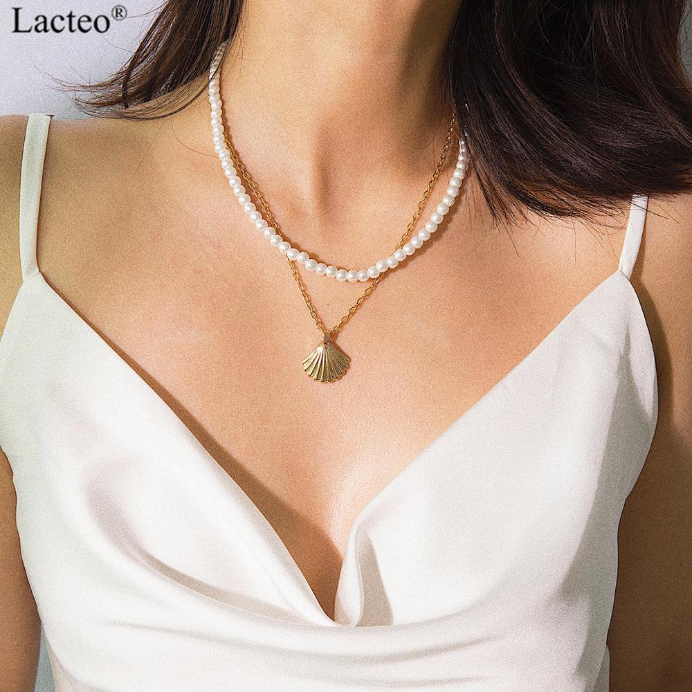 Lacteo Bohemian Multi Layer Chain Imitation Pearls Choker Necklace Women Golden Sea Shell Pendant Party Jewelry