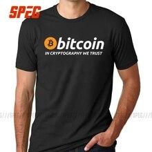 T เสื้อ Bitcoin ใน Cryptography WE Trust ผู้ชาย O คอ Moon แขนสั้น Cryptocurrency เสื้อยืดผู้ชาย Funky Tees ผ้าฝ้ายเสื้อผ้า