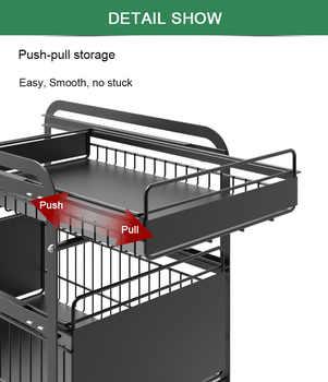 drawer organizer Sliding Cabinet Basket Pull Out Kitchen Organizer Drawer Ideal Countertop Pantry Under The Sink Desktop Storage