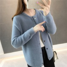 Women 2019 Autumn Faux Mink Cashmere Cardigan Casual Elegant Solid Sweater Ladies Thick Warm Knitted Sweaters