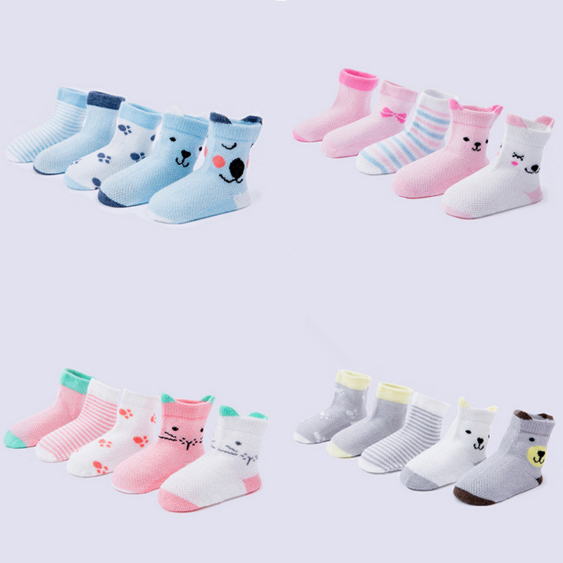5 Pairs Children Summer <font><b>Socks</b></font> for Newborn Baby Girls Boys <font><b>Animal</b></font> Stereo Cartoon Whale Dinosa Mesh <font><b>Socks</b></font> Kids Clothes Accessories image