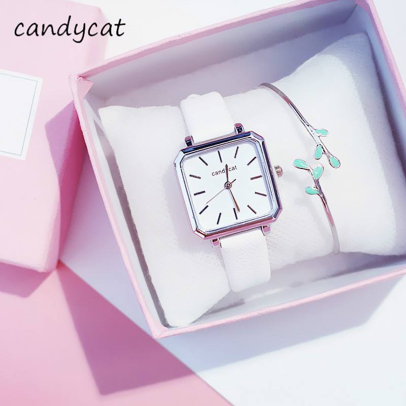 CandyCat Women Watches Retro Small Table Female Korean Version Of The Simple Square Ins Watches Women Womens Watches Accessories