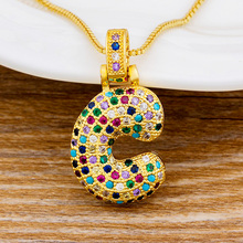 New Women Gold Color A-Z 26 Letter Name Initial Necklace Rainbow CZ Choker Pendant Necklace Statement Custom Jewelry For Female gold color initial multicolor cz necklace personalized letter necklace name jewelry for women accessories girlfriend gift