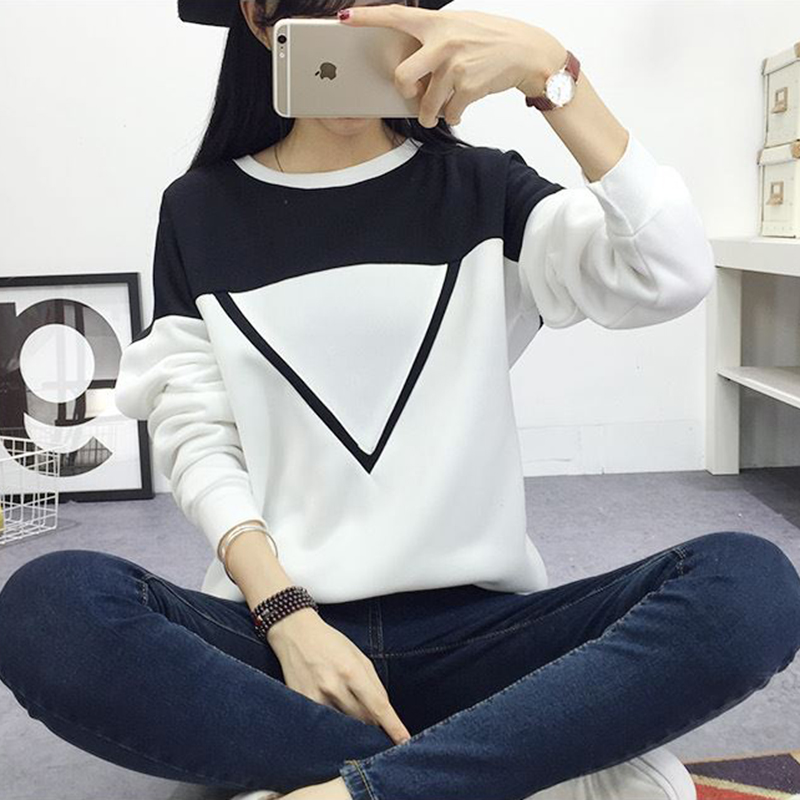2019 Winter New Fashion Hoodies Women V Pattern Black White Spell Color Patchwork Pullover Sweatshirt Female Tracksuit M XXL in Hoodies amp Sweatshirts from Women 39 s Clothing