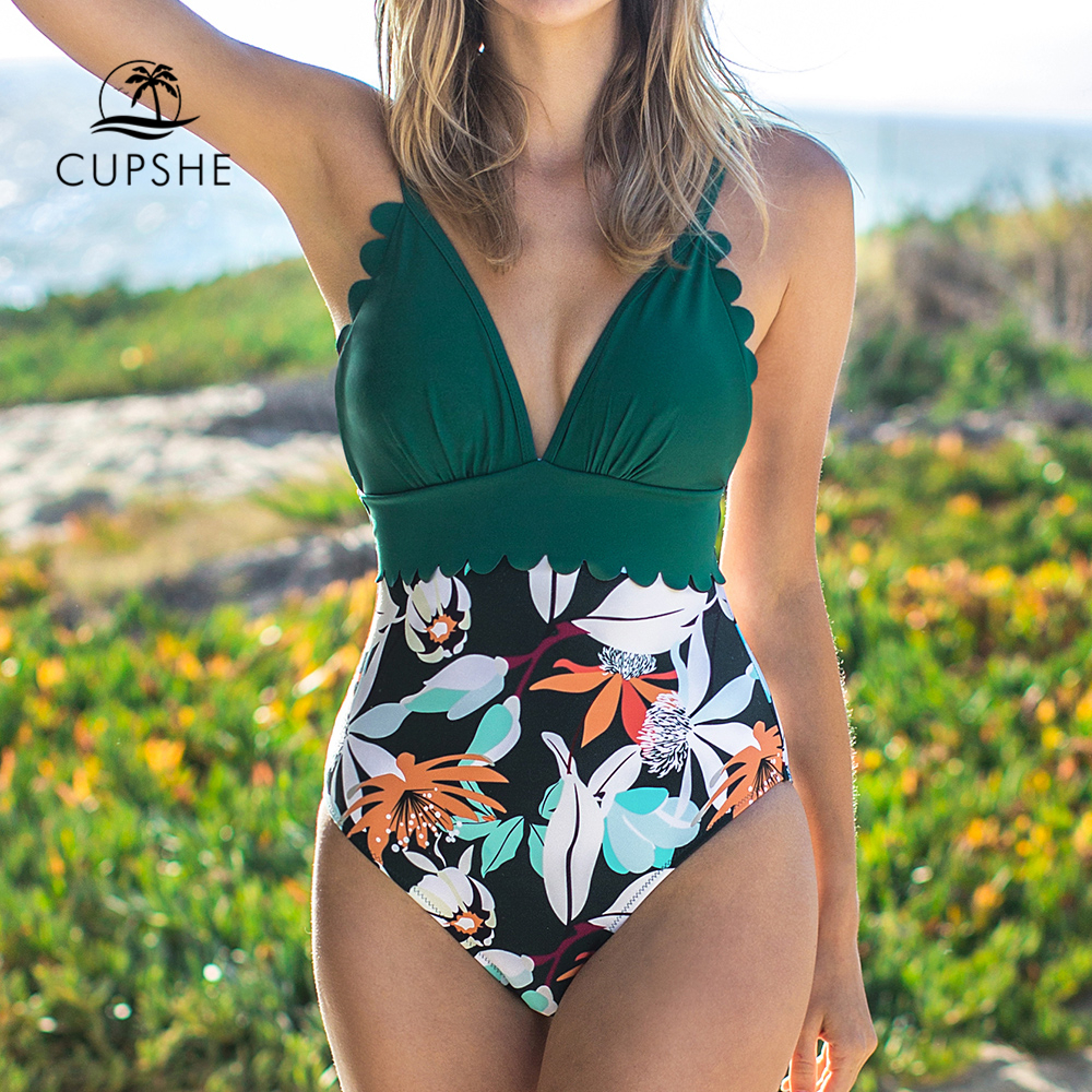 CUPSHE Teal and Floral Scalloped One-Piece Swimsuit Sexy V-neck Women Monokini 2019 Girl Beach Bathing Suit Swimwear