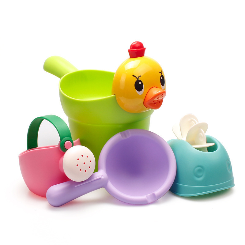 Beach Toys Set Baby Bath Toys Baby Swimming Duckling Shampoo Cup Shower Beach Children Toys