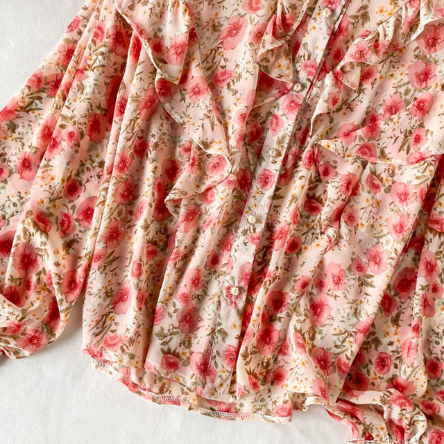 Elegant Sweet ruffle Women Shirt Lantern sleeve Floral print Chiffon Shirts and Blouses 2020 Spring Slim Female blouses Tops 6