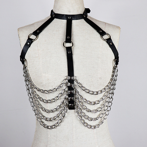 Image 4 - CEA Sexy Leather Harness Chain Chest Belt For Women Garter Sexy Body Bondage Harness Dress Waist Belts Fashion Decoration Tops