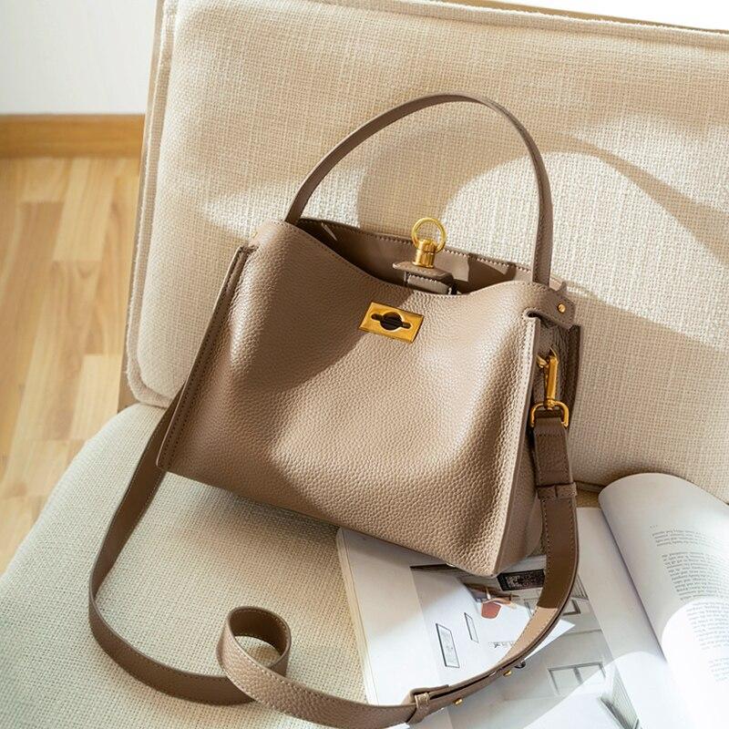 Women Fashion Handbag Top Hide Genuine Calf Leather Large Tote Bag WB1049
