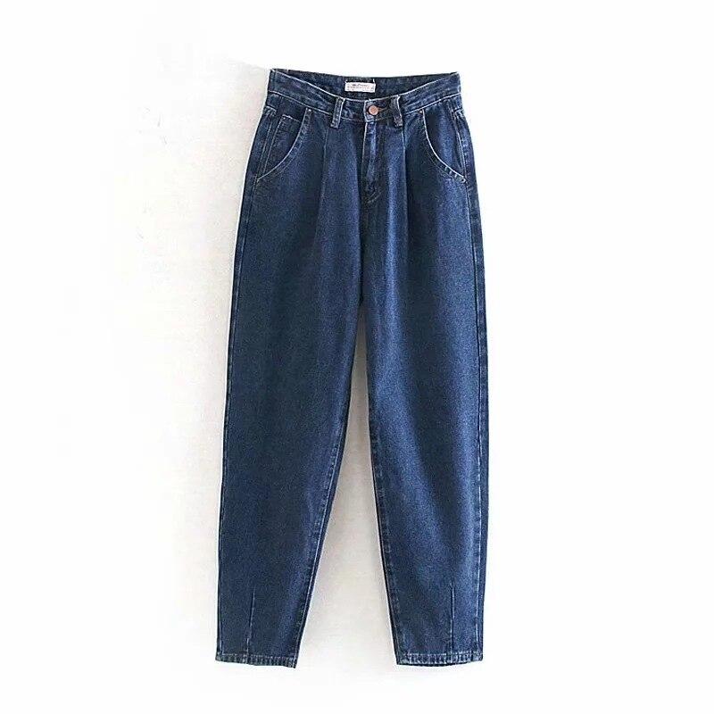 Wild Jeans Woman Loose Casual Harem Pants Boyfriends Mom Jeans Streetwear Denim Pants Women Pleated Pocket Trousers Jean Femme