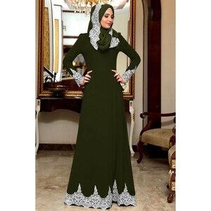 Image 4 - Vintage Muslim Dress Women Slim Fit Long Sleeve Maxi Hijab Dresses Islamic Clothing Big Swing A line Abaya Dress Dubai Kimono