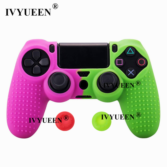 IVYUEEN Silicone Cover Skin for Dualshock 4 PS4 Pro Slim Controller Case and Thumb Grips Caps for PlayStation 4 Game Accessories 2