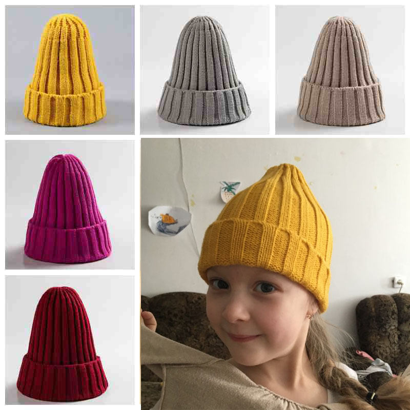 Candy Color Baby Hat Cute Autumn Winter Pointy Hats For Kids Boys Girls Kintted Warm Beanie Cap