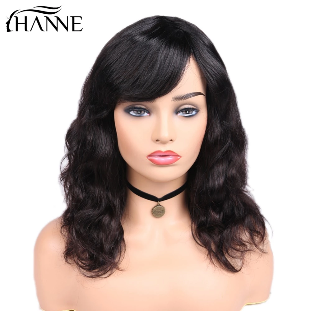 HANNE Hair Brazilian Natural Wave Remy Human Wigs For Black Women Gratis Pa150% Density Hair Wigs With Bangs Natural Black Color