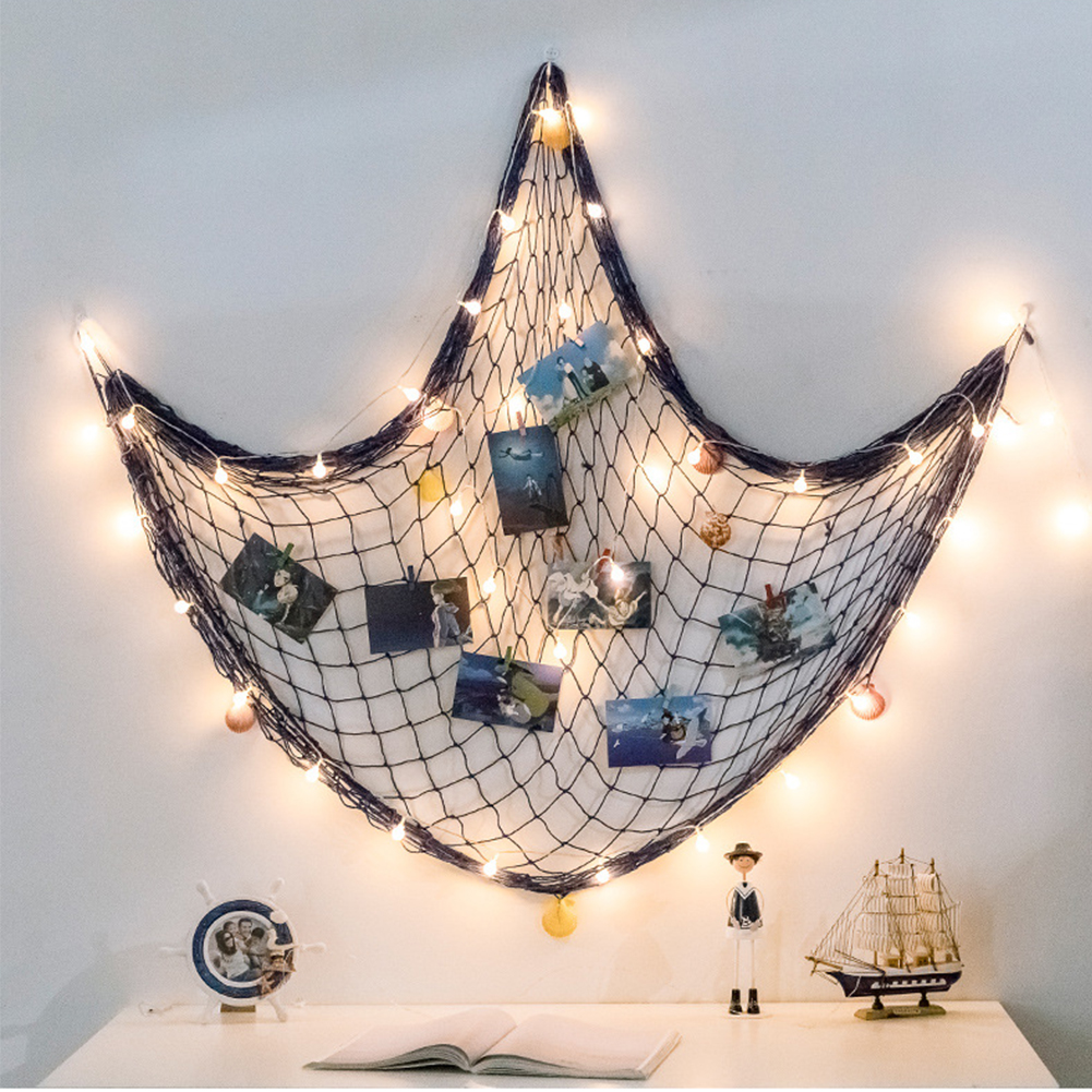 Photo Hanging Display Fish Net Wall Decor Picture Frames Multi Photos Organizer