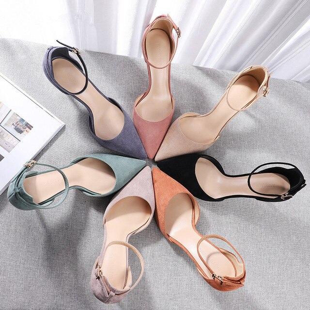2020 נעלי אישה צאן קרסול רצועות 6/8cm דק עקבים גבוהים נשים פו זמש כיסוי עקב אלגנטי סקסי נקודת הבוהן סנדלי משאבות חדש