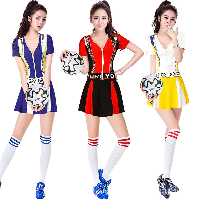 Girl Dancing Show Racing Car Cheerleader Stage Performance Red Dress Cheerleading Costumes Adult High School Cheer