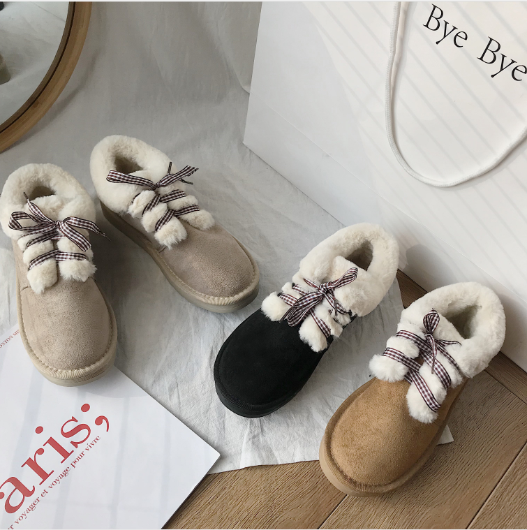 New Autumn Flat Keep Warm Ankle Boots Women Lace Up Short Plush Snow Boots Shoes Woman Winter Cotton Shoes Women Chaussure 2019 61