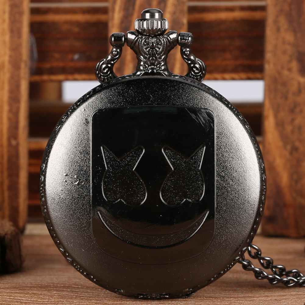 Fashion Charm Marshmallow Mask Style Quartz Pocket Watch Necklace Pendant Chain Watches Roman Number Steampunk Clock Unisex Gift