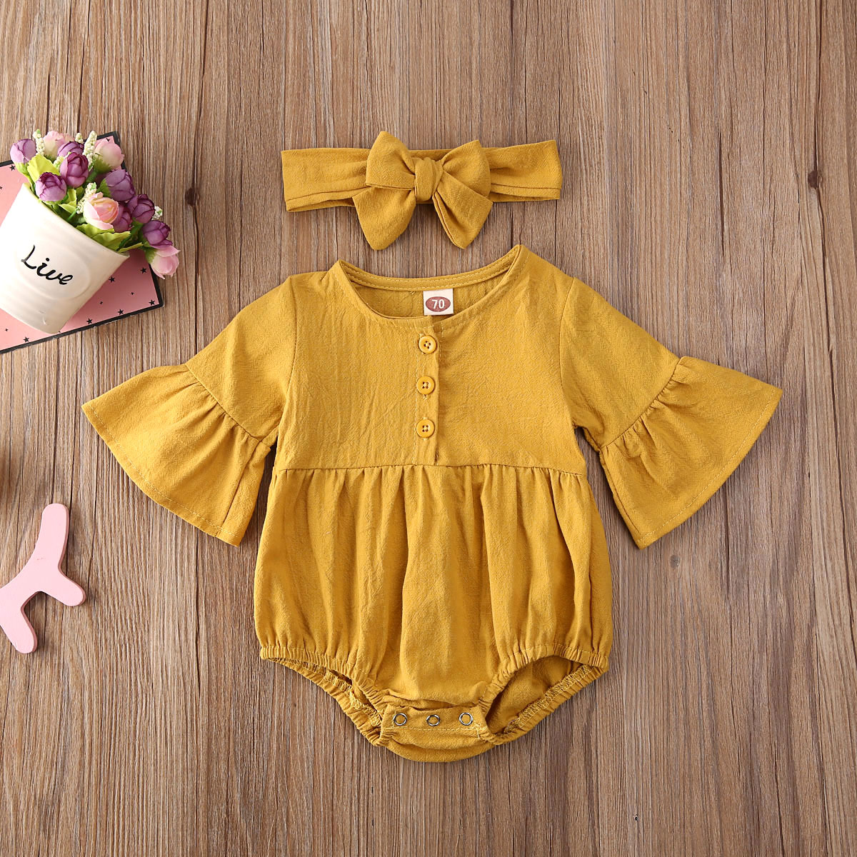 Pudcoco Newborn Baby Girl Clothes Solid Color Long Sleeve Knitted Cotton Romper Jumpsuit Headband 2Pcs Outfits Clothes