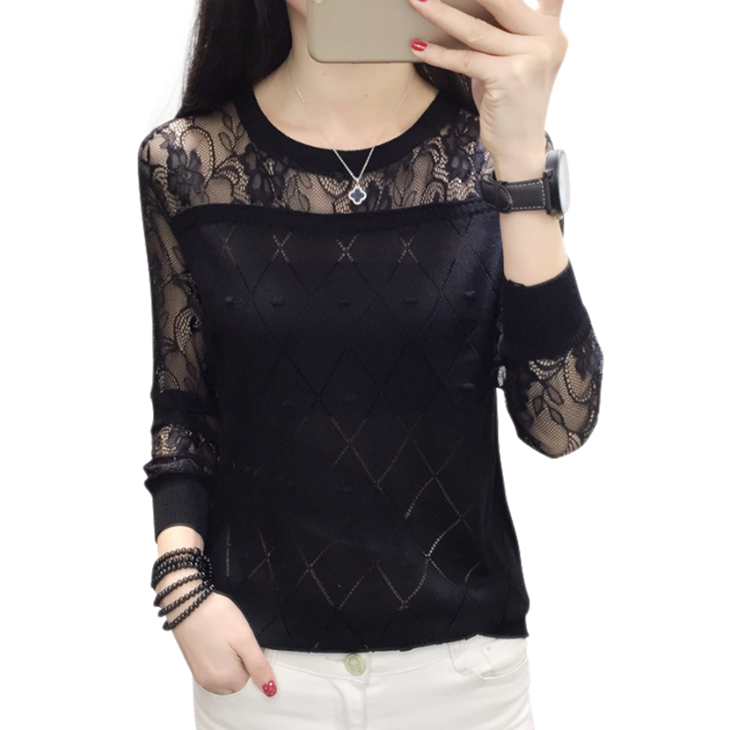 Women Simple Spring Autumn Long Sleeve Knit Stitching Embroidery Lace Cute Loose Round Collar Sweater