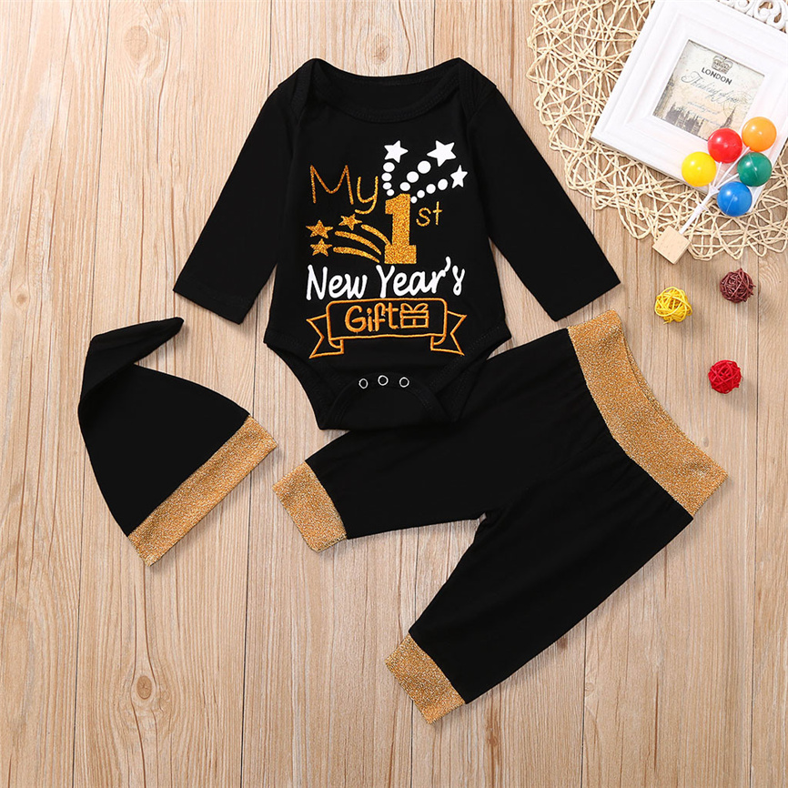 3pcs Children Clothes Newborn Baby Boys Girls Sets 1st New Year Letter Romper Pants Hat Outfits Set Comfortable Soft Outfit Clothing Sets Aliexpress