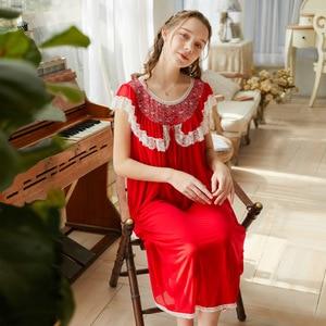 Image 2 - Roseheart Vrouwen Vrouwelijke Rood Roze Sexy Nuisette Nachtkleding Homewear Night Dress Lange Kant O Hals Nachtkleding Nachtjapon