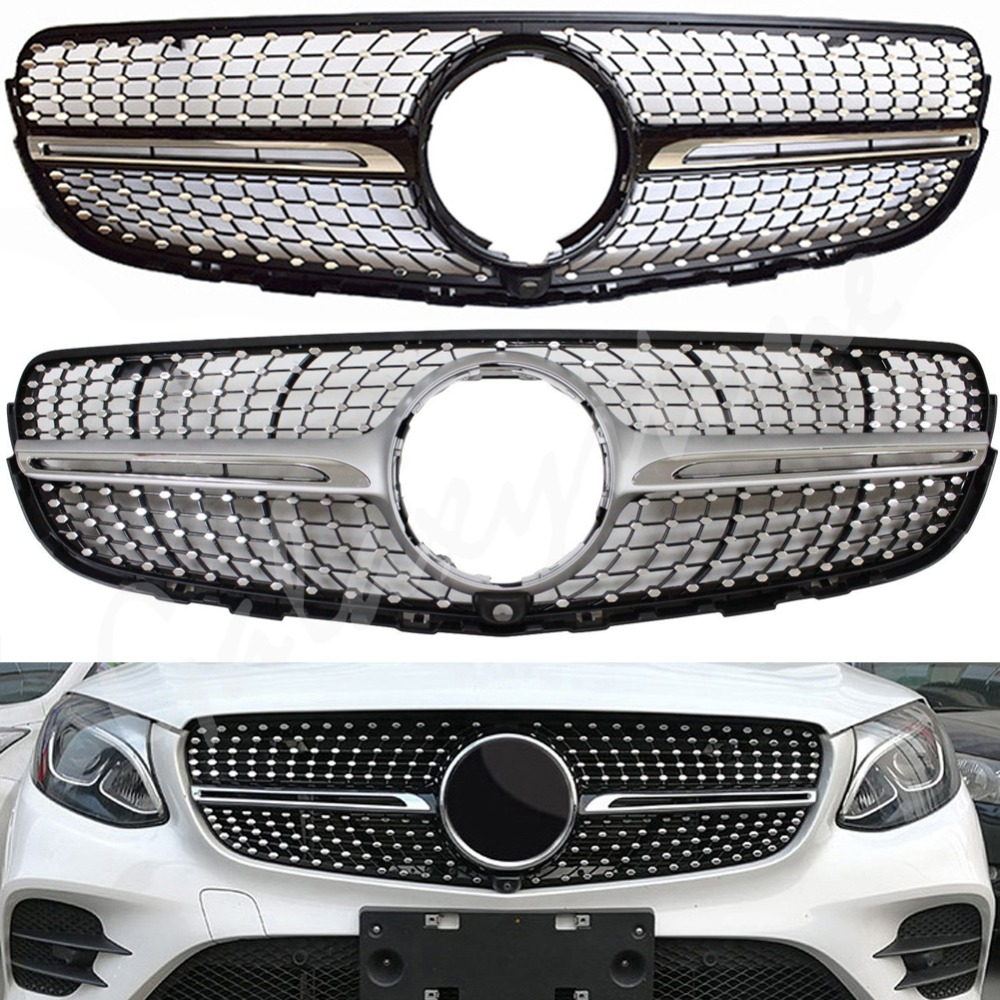 fit for Mercedes Benz W253 GLC Sports Diamond Style Front Grill Black Silver GLC200/250 <font><b>2016</b></font> 2017 image