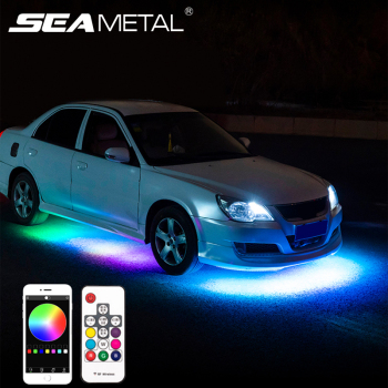 Car Neon Underglow Led Lights Kit Car Interior Ambient Atmosphere lamp RGB Color APP Remote Control Underbody System Neon Light car 12v led app foot lamp 9smd ambient light voice control music lamp phone control lamp 5050 9 x 4 smd car neon light car