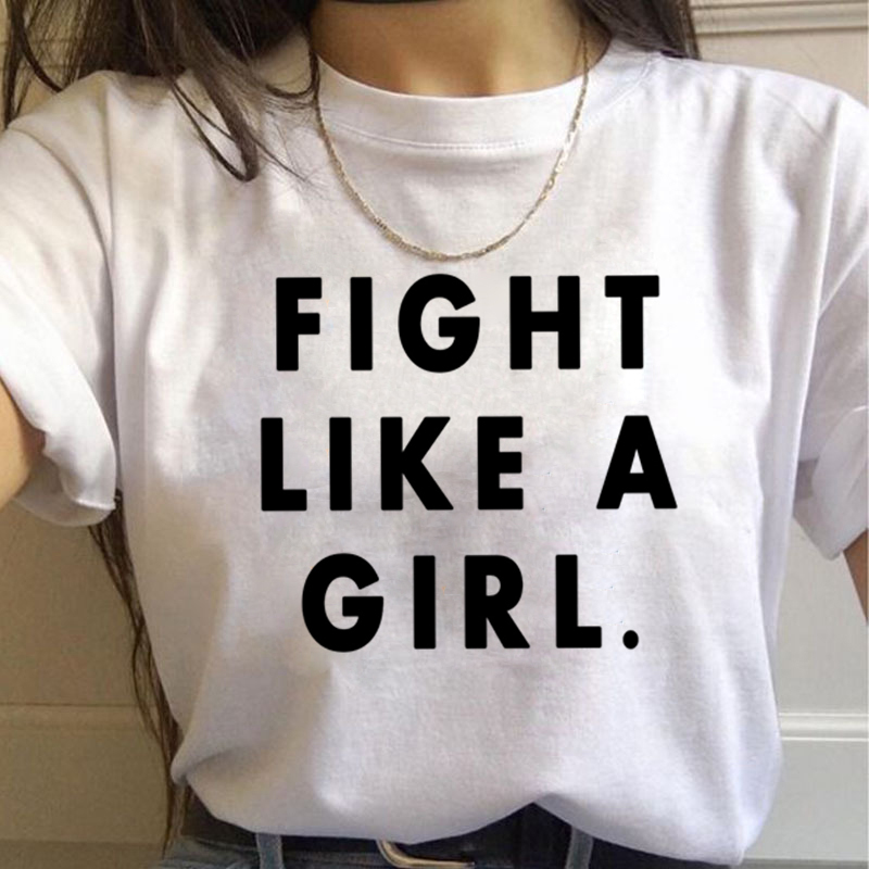 Feminist Fight Like A Girl Harajuku T Shirt Women Ullzang 90s Vintage T-shirt Feminism Graphic Tshirt Korea Style Top Tee Female