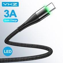 YKZ — Câble USB Type-C3A avec LED pour recharge rapide, cordon de chargeur USB-C pour téléphone Samsung Galaxy, Xiaomi et Huawei