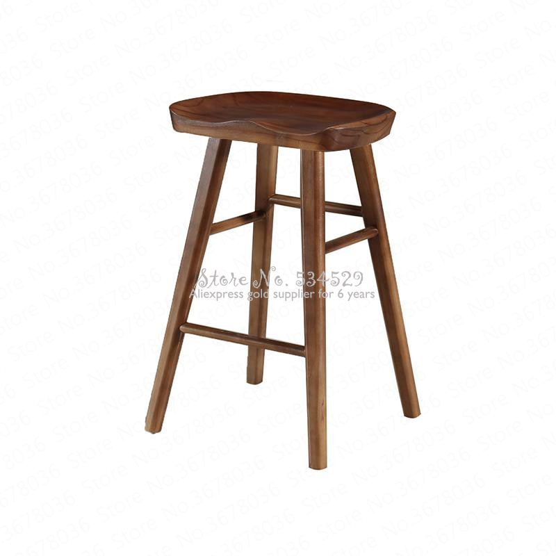 29%Nordic Bar Stool Modern Minimalist Bar Chair Solid Wood Home Creative Bar Chair Fashion High Stool