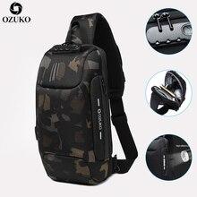 OZUKO חדש נגד גניבת מנעול עיצוב גברים חבילת חזה קיץ קצר טיול שליחי תיק תכליתי עמיד למים כתף Crossbody תיק