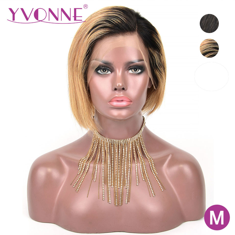 YVONNE Design Natural Color Ombre Pixie Cut Short Wigs Brazilian Remy Lace Front Human Hair Wigs Straight 8 Inches