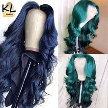 Wig Human-Hair-Wigs Wavy Lace-Front Pre-Plucked Dark-Blue-Color Green Part Deep-T Brazilian
