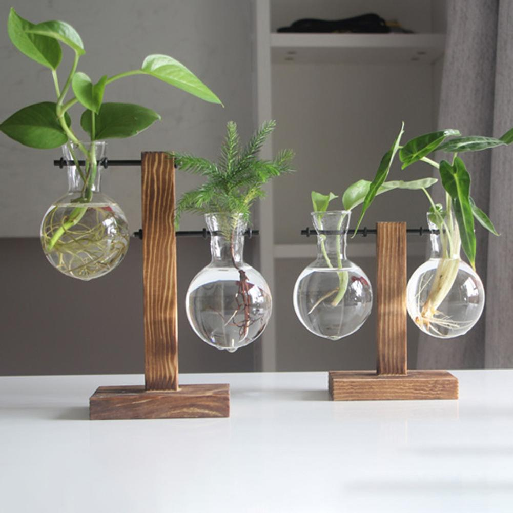 Hout Stand Frame Glazen Fles Clear Plant Vaas Pot Terrarium Desktop Decor  Hydrocultuur Thuis Tuin Bloem Opknoping Vaas Planter Bloempotten &  Bloembakken  - AliExpress