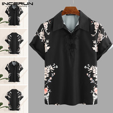 INCERUN Mens Short Sleeve Shirts Man Floral Print Retro Lapel Shirt Men Casual Lace Up Black Blouse Summer Breathable Tops 3XL