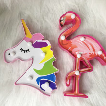 3D Night Light Unicorn Lamp LED Cartoon Mermaid Kids Flamingo Colorful Home For New Year Gift Party Table Decor