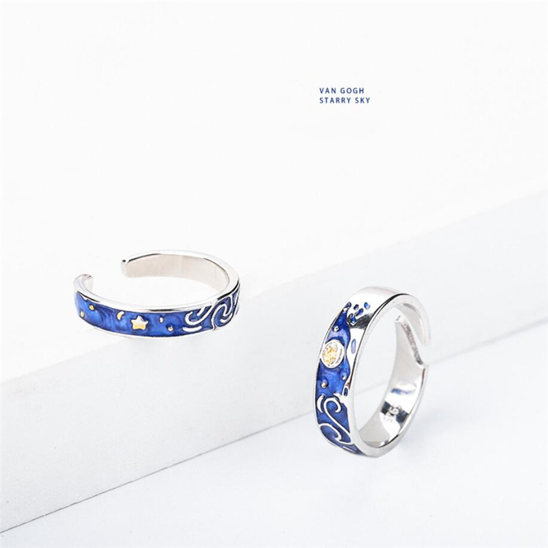 Sole Memory Van Gogh Starry Sky 925 Sterling Silver Female Resizable Opening Romantic Couple Rings SRI519