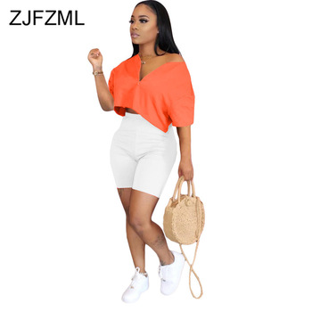 2020 Casual 2 Piece Club Outfit Women's Set Front Zipper Short Sleeve Loose T Shirt Bodycon Shorts Sweat Suit Lounge Wear Suits womens gradient t shirt shorts set 2 pcs lounge wear leopard print long sleeve top drawstring homewear casual suit