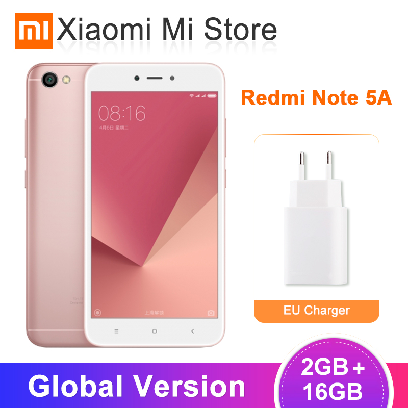 "Global Version Xiaomi Redmi Note 5A 2GB RAM 16GB ROM Mobile Phone Snapdragon 425 Quad Core 13.0MP Camera 5.5"" 3080mAh Battery"