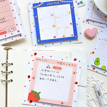 Get more info on the 2pcs Cartoon diary sticky note set Mini Cute fruit bread Daily week plan adhesive memo pad post sticker it Office School A6686