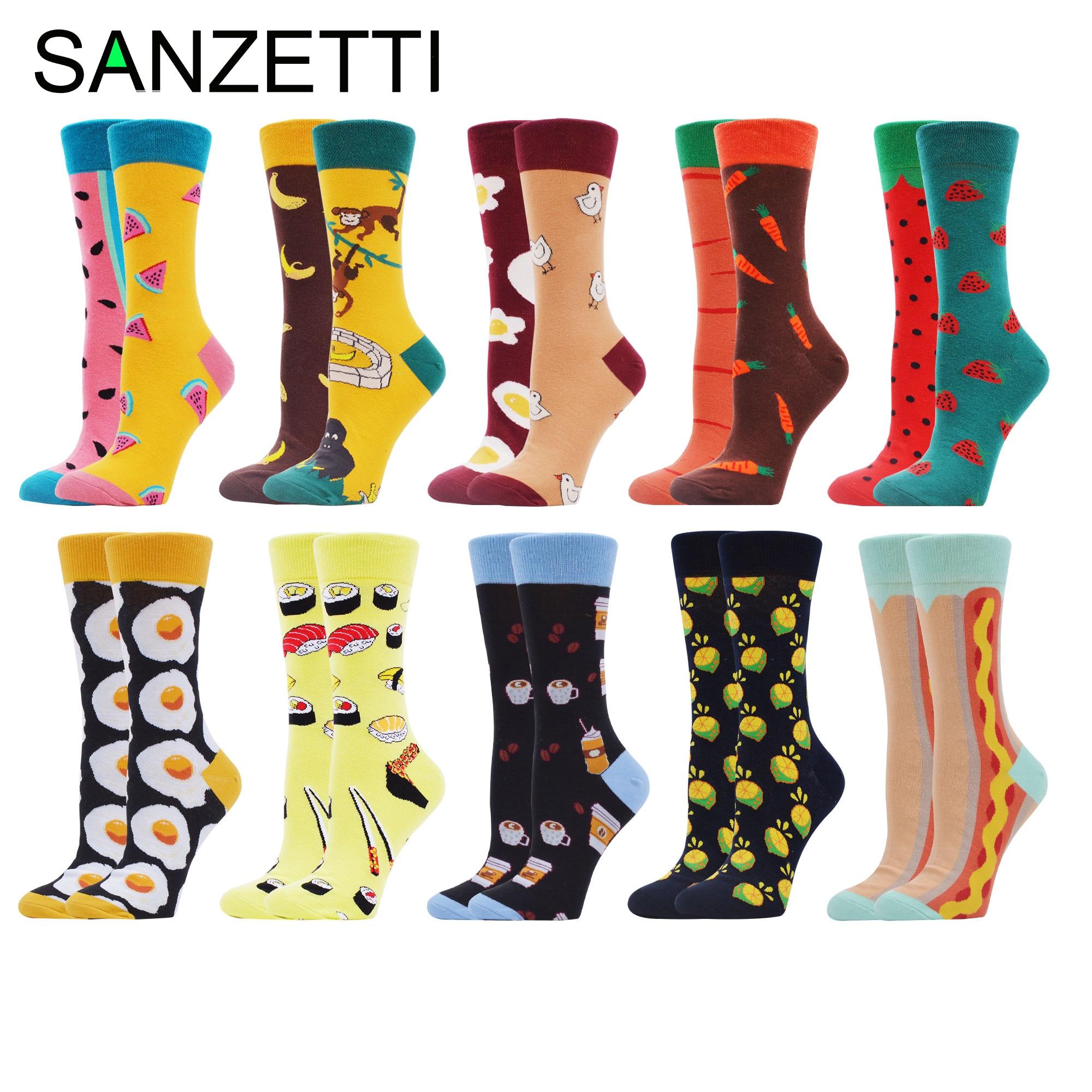 SANZETTI 10 Pairs New Women Combed Cotton Socks Multi Colorful Happy Creative Fruit Novelty Wedding Bright Gifts Dress SocksSocks   -