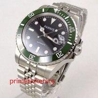40mm parnis mostrador preto verde rotativo moldura cerâmica vidro safira janela data movimento automático relógio masculino